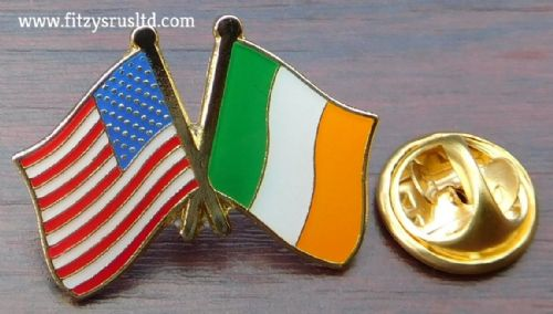 America USA Ireland Eire Friendship Lapel Hat Tie Cap Pin Badge Stars & Stripes